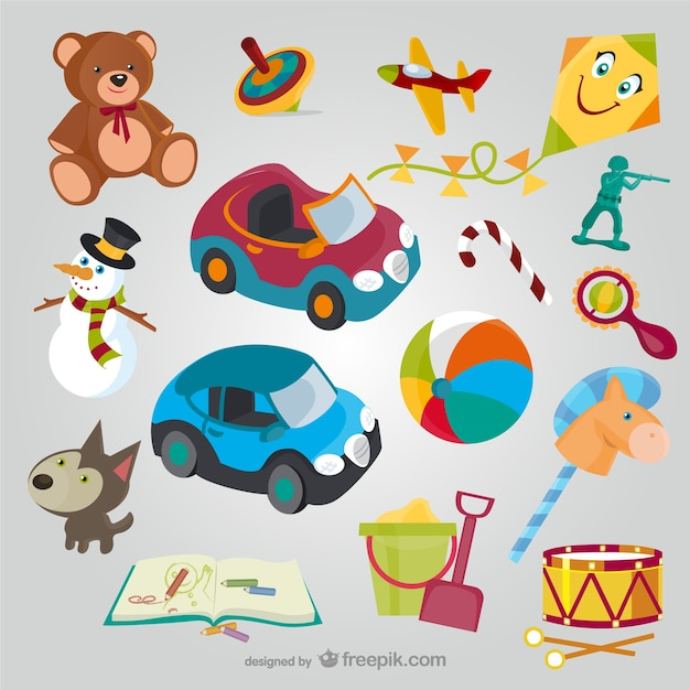 Toys cartoons collection Free Vector