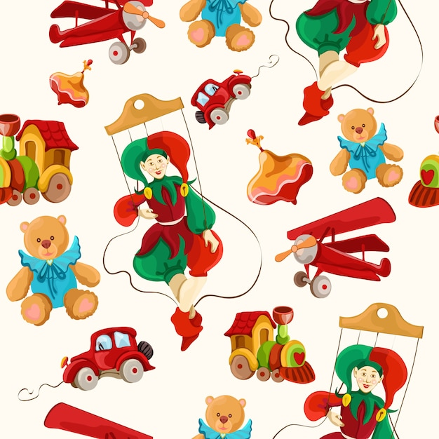 Toys colored drawn seamless pattern Free Vector
