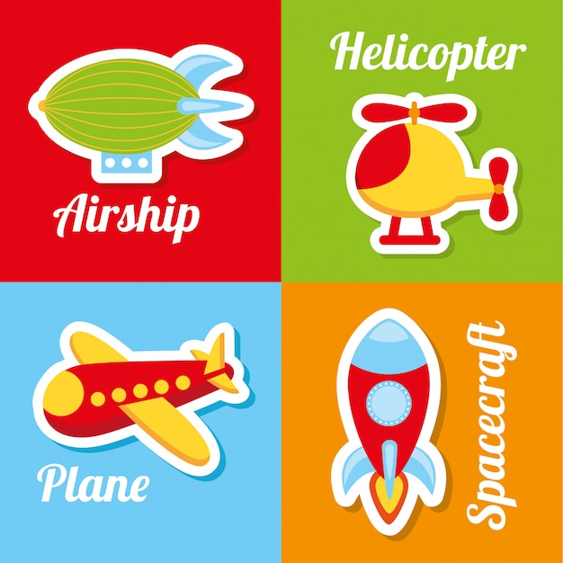 Toys icons over colorful background vector illustration Premium Vector