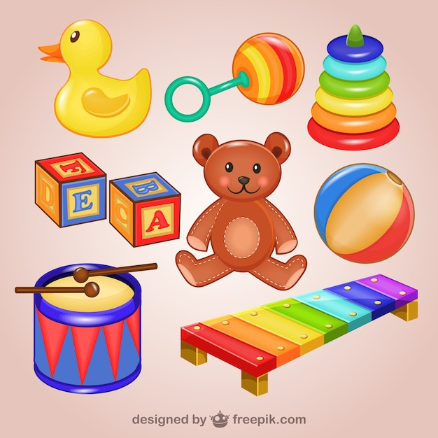 toys illustrations pack free vector - Sign Up For Free Christmas Toys