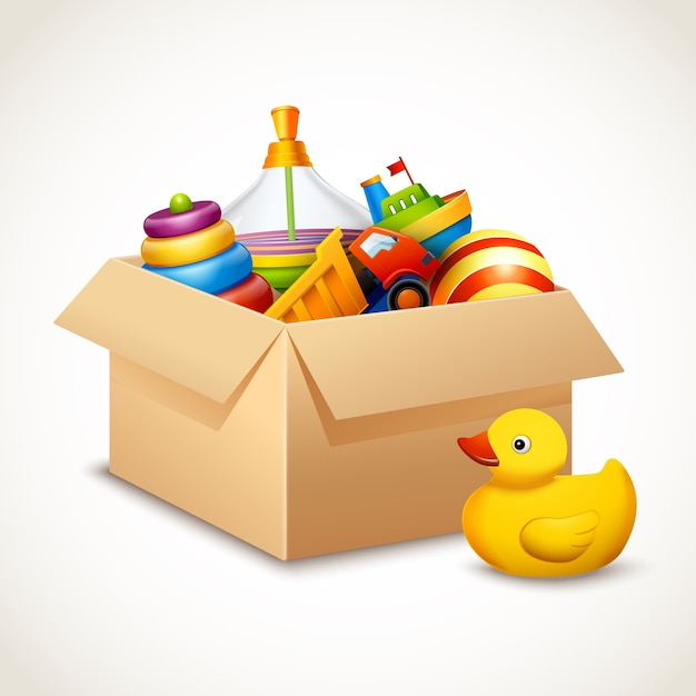 Toy Box Clip Art : Toys in box vector premium download