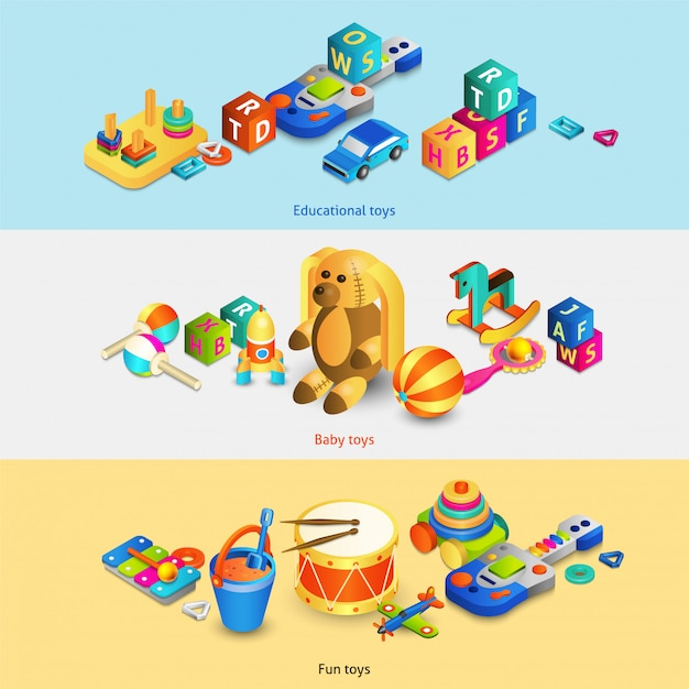 Toys isometric banners Free Vector