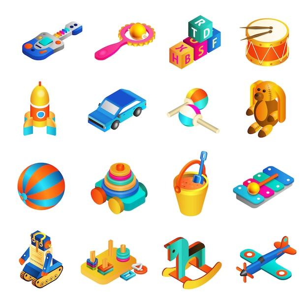 Toys isometric set Free Vector
