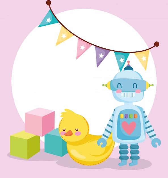 Игрушки объект для маленьких детей, чтобы играть в мультфильм, резиновый робот утка и кубики иллюстрации Premium векторы