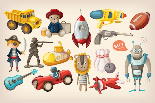 Toys for play Premium Vector