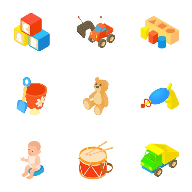 Toys set, cartoon style Premium Vector