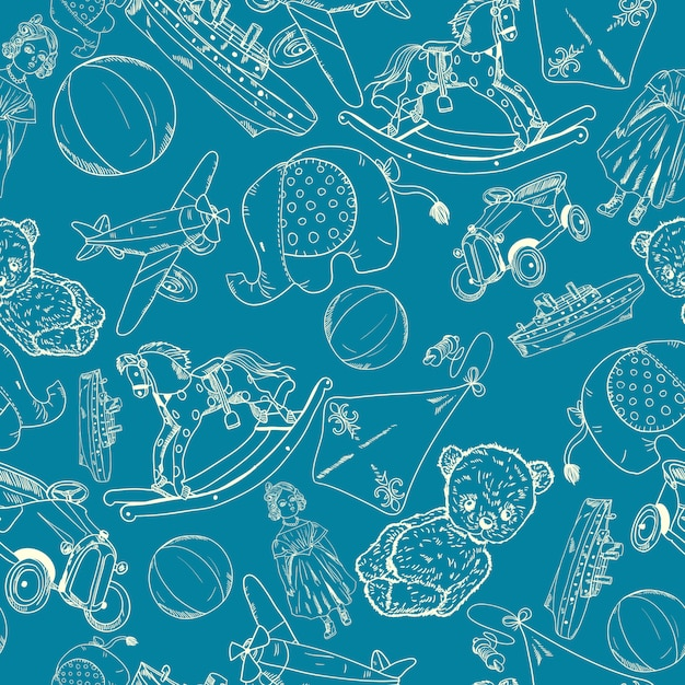 Toys sketch blue seamless pattern Free Vector