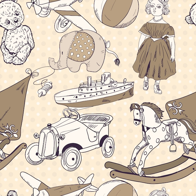 Toys sketch seamless pattern wallpaper Free Vector