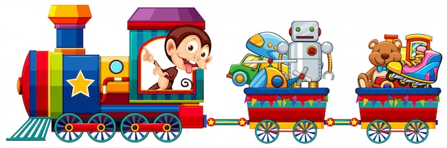 Toys on the train Free Vector