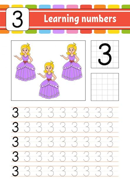 トレースと書き込み。手書きの練習。子供のための学習番号。 Premiumベクター