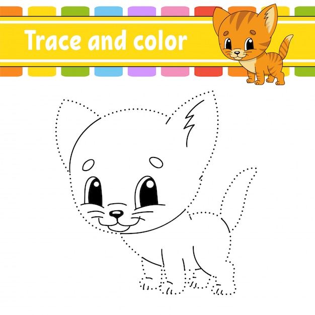 Trace and color. cat animal. coloring page for kids. handwriting practice. education developing worksheet. Premium Vector