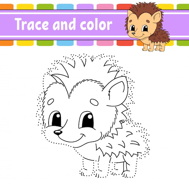 Trace and color. coloring page for kids. handwriting practice. education developing worksheet. hedgehog animal. activity page Premium Vector
