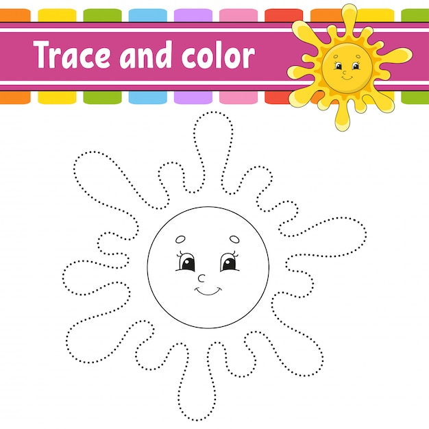 Trace and color. coloring page for kids. handwriting practice. Premium Vector