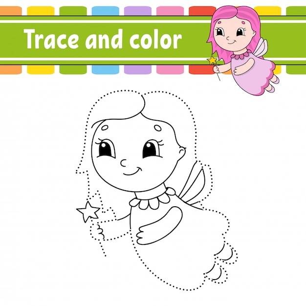 Trace and color. coloring page for kids. Premium Vector