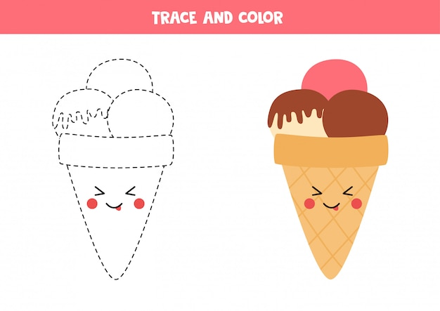 Premium Vector Trace And Color Cute Kawaii Ice Cream Coloring Page For Kids