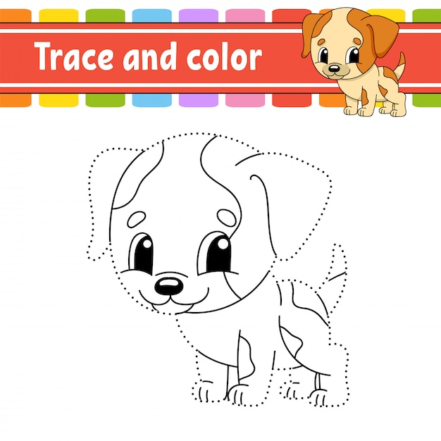 Trace and color. dog animal. coloring page for kids. handwriting practice. Premium Vector
