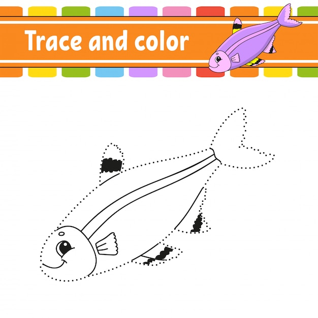 Trace and color. fish. coloring page for kids. handwriting practice. education developing worksheet. Premium Vector