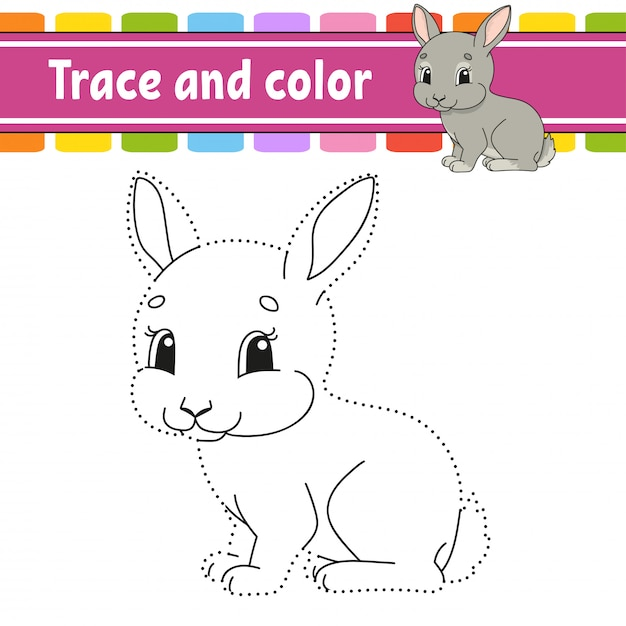 Trace and color. rabbit bunny animal. coloring page for kids. handwriting practice. Premium Vector