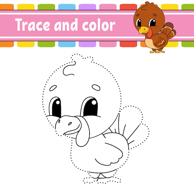 Trace and color. turkey bird. coloring page for kids. handwriting practice. Premium Vector