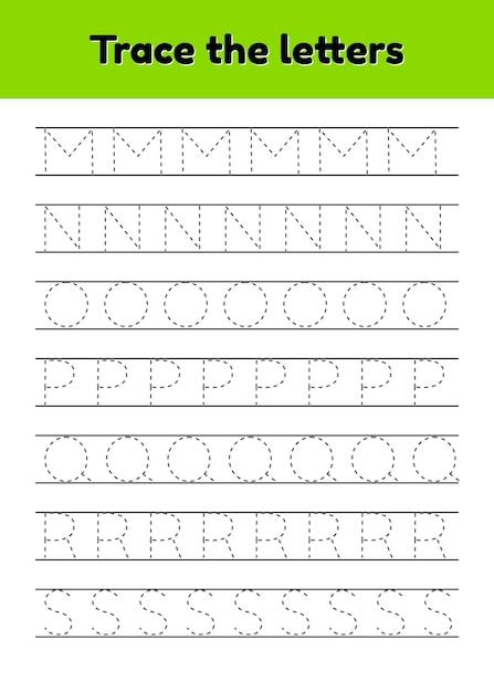 Трассировка букв письма для детского сада и дошкольников. алфавит. Premium векторы