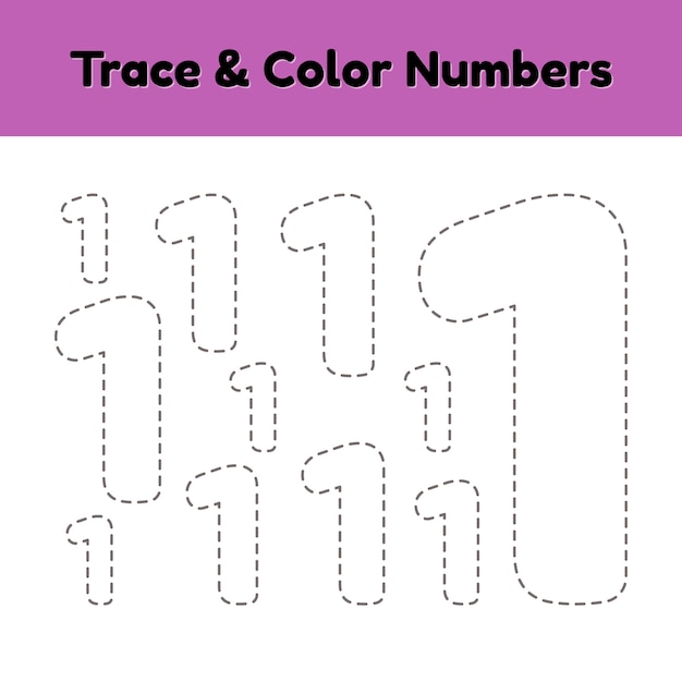 Trace line number for kids. Premium Vector