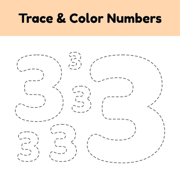Trace line number for kids Premium Vector