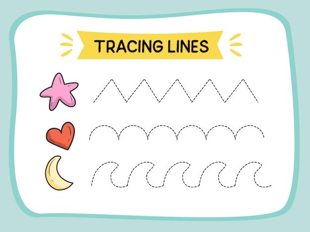 Рабочий лист следа линии для обучения детей книги иллюстраций Premium векторы