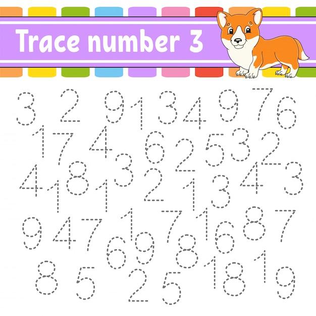 トレース番号3。手書きの練習。子供のための学習番号。 Premiumベクター