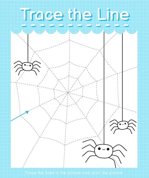 Обведите линию: проследите за пунктирными линиями и раскрасьте картинку - паутина Premium векторы