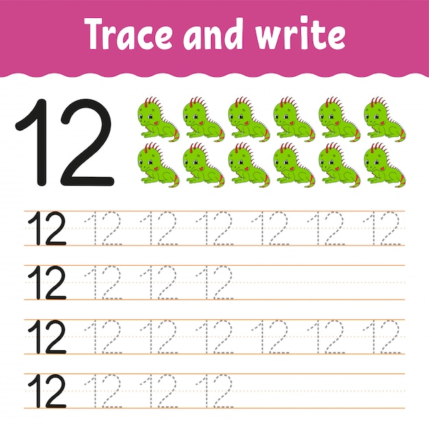 Trace and write. handwriting practice. learning numbers for kids. education developing worksheet. activity page. Premium Vector