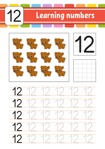 Trace and write. handwriting practice. learning numbers for kids. education developing worksheet. Premium Vector