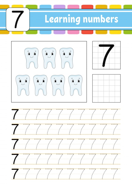 Trace and write. leaning the number seven Premium Vector