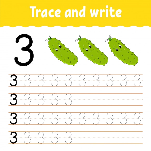 Trace and write. Premium Vector