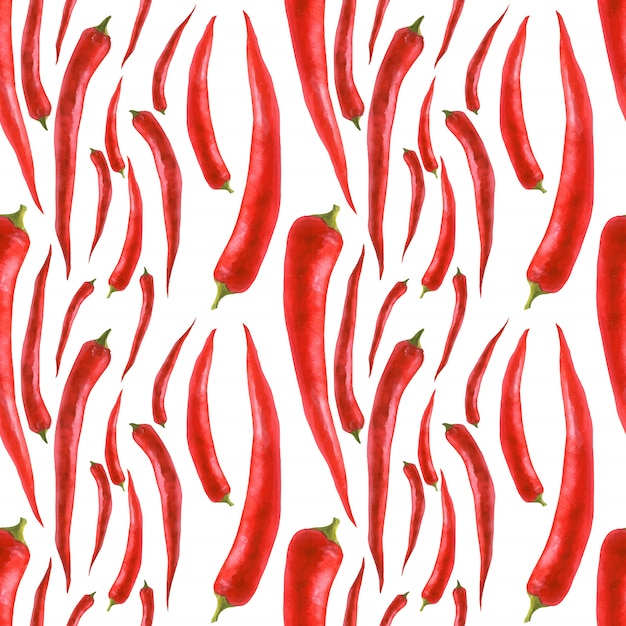Traced watercolor seamless pattern with hot pepper Premium Vector