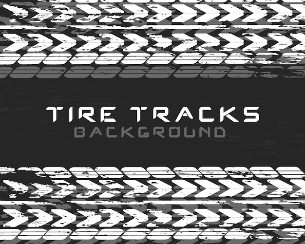 Traces car tires and tracks on a black background. realistic composition traces. motocross, bike path, car track or auto racing. tire change car service. vehicle icon - minimum symbol. Premium Vector