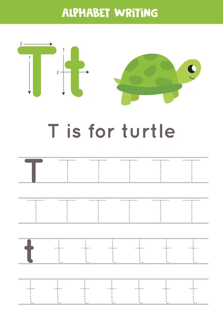 Premium Vector Tracing All Letters Of English Alphabet. Preschool  Activity For Kids. Writing Uppercase And Lowercase Letter T. Cute  Illustration Of Turtle. Printable Worksheet.