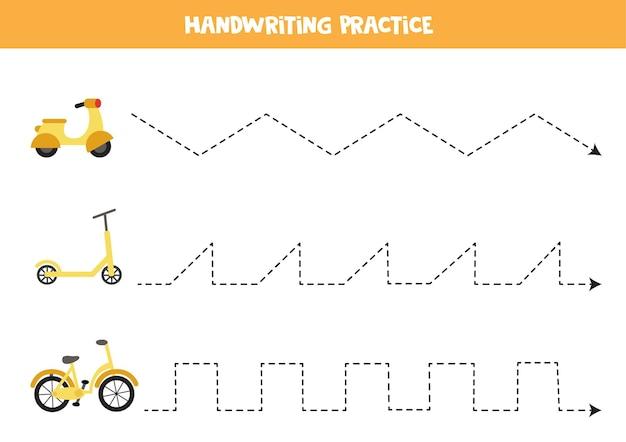 漫画の原付、スクーター、自転車で子供のためのトレースライン。子供のための手書きの練習。 Premiumベクター