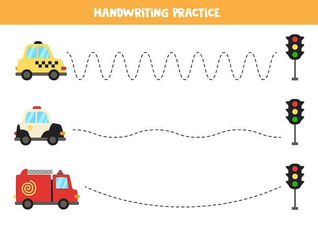 漫画のタクシー、パトカー、消防車を持った子供向けのトレースライン。子供のための手書きの練習。 Premiumベクター