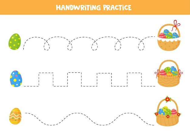 Трассировка линий с мультяшными пасхальными яйцами и корзинами Premium векторы