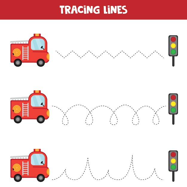 Tracing lines with fire truck. educational worksheet for kids. handwriting practice. Premium Vector
