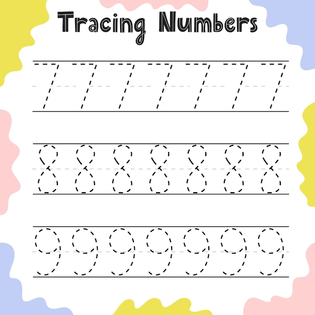 Tracing numbers 7, 8, 9 activity page for kids. preschool writing worksheet for toddlers. education sheet template. vector illustration Premium Vector