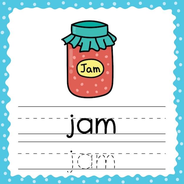 単語のフラッシュカードをたどる-ジャム。子供のためのライティング練習。シンプルな3文字の単語のフラッシュカード。幼児向けの活動ページ。図 Premiumベクター
