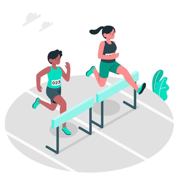 Легкая атлетика концепции иллюстрации Бесплатные векторы