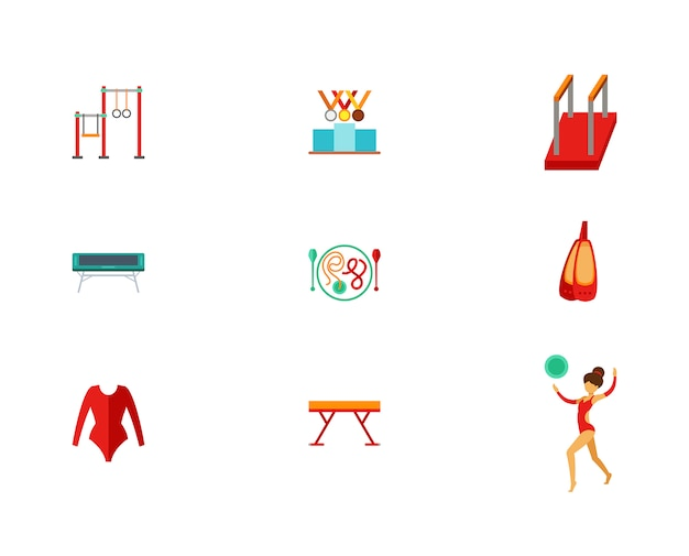Track and field icon set Free Vector