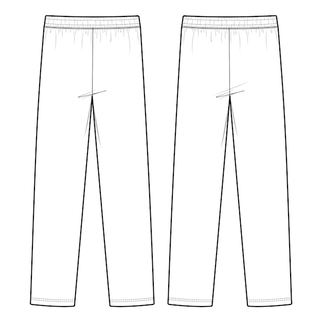 Track pants fashion flat sketch template Premium Vector