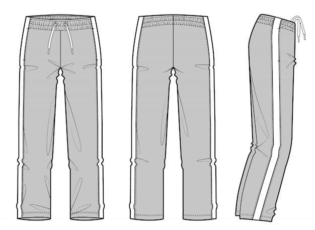 Track pants fashion flat technical drawing vector template Premium Vector