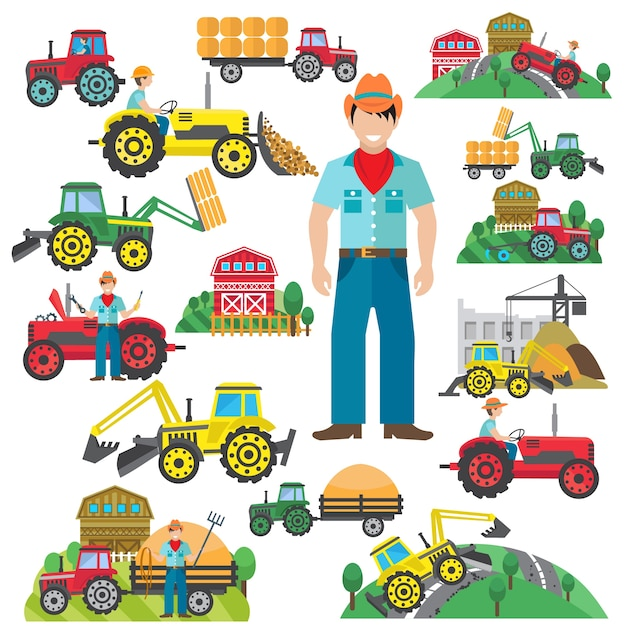 Tractor driver icons set flat Free Vector