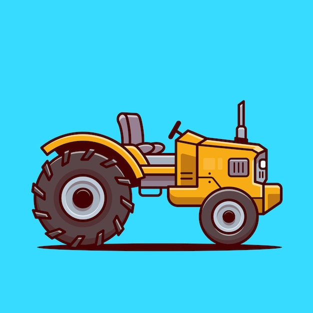 Tractor farm cartoon vector icon illustration. farm transportation icon concept isolated vector. flat cartoon style Premium Vector