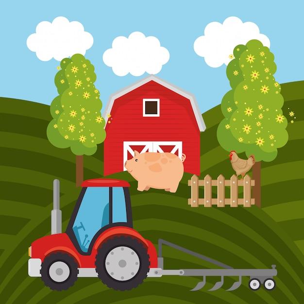 Tractor in the farm scene Premium Vector