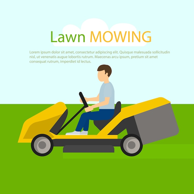 Tractor lawn mowing concept , flat style Premium Vector